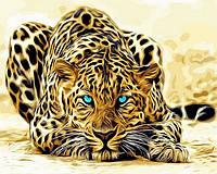 """Красивые и Яркие Картины по номерам """"Леопард"""" раскраска антистрес, 40 х 50 см С Коробкой"""