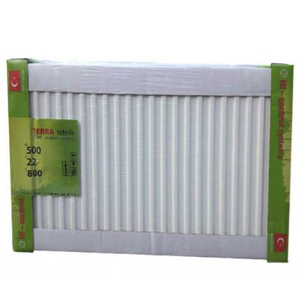 Радиатор стальной 22 тип 500H x 800L - Нижнее подключение TERRA TEKNIK, фото 2