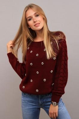 Стильный свитер крупная вязка (бордо) 13110