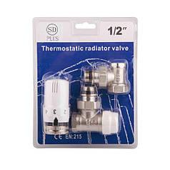 SD Комплект кранов с термоголовкой радиаторный угловой 1/2''