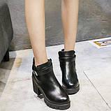 Черные ботинки на тракторной подошве, фото 3