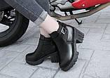 Черные ботинки на тракторной подошве, фото 4