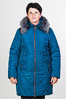 Женская зимняя куртка цвет бирюза 50-58 размер + подарок