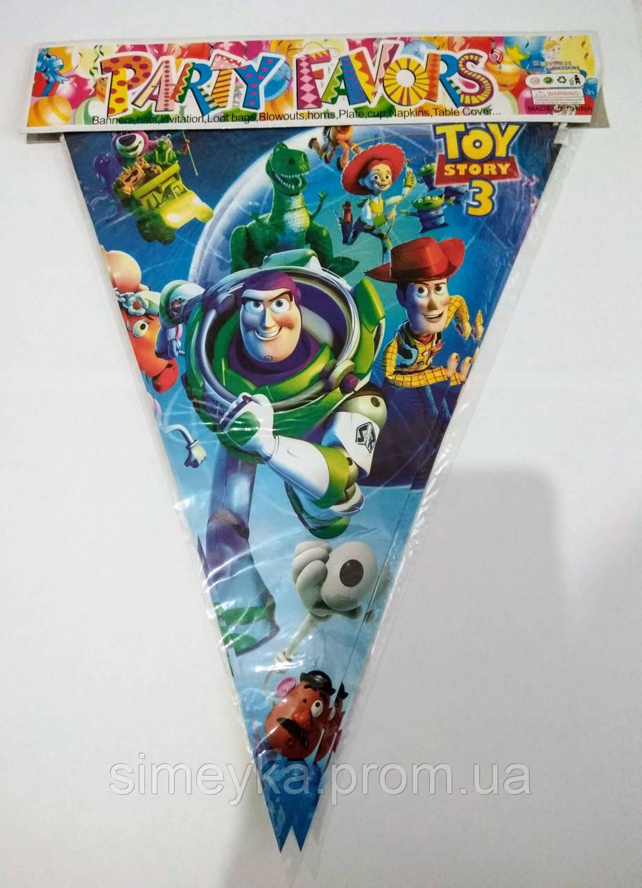 """Гірлянда з трикутних прапорців (двостороння), довжина близько 2,2 м, """"Історія іграшок"""""""
