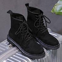 Высокие женские ботинки на шнуровке черные, фото 1