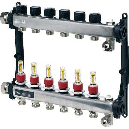Коллектор стальной для поверхностного отопления в сборе 3 контуров, TECEfloor 77310003, фото 2