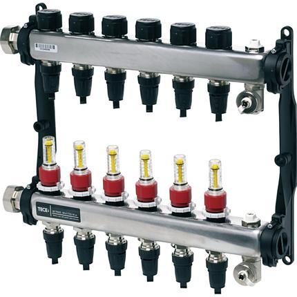 Коллектор стальной для поверхностного отопления с соединениями push-fit тип TECElogo в сборе 2 контуров, TECEfloor 77311102, фото 2