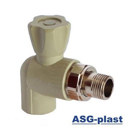 Кран ASG радиаторный угловой 20 с резинкой, фото 2