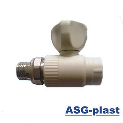 Кран ASG радиаторный прямой 25 без резинки, фото 2