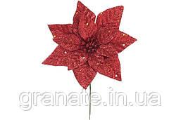 Декоративный цветок Пуансеттия 15 см, цвет - красный (48 шт)