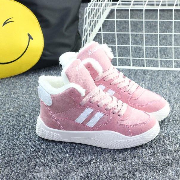 Женские дешевые зимние кроссовки розовые