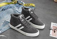 Высокие спортивные серые кроссовки с белыми полосами, фото 1