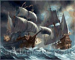 Набор для рисования Сражение кораблей во время шторма 40х50см, С Коробкой