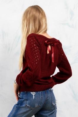 Молодежный свитер вязаный (бордо) 13100