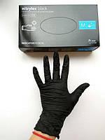 Перчатки прочные нитриловые неопудренные, черные Nitrylex , М. 4 шт.Текстурированы на кончиках пальцев