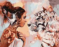 Раскраска Антистресс для взрослых и детей Снежная тигрица, 40 х 50 см , С Коробкой