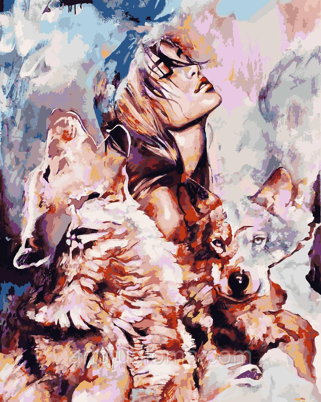 Раскраска Антистресс для взрослых и детей Волчья стая, 40 х 50 см , С Коробкой