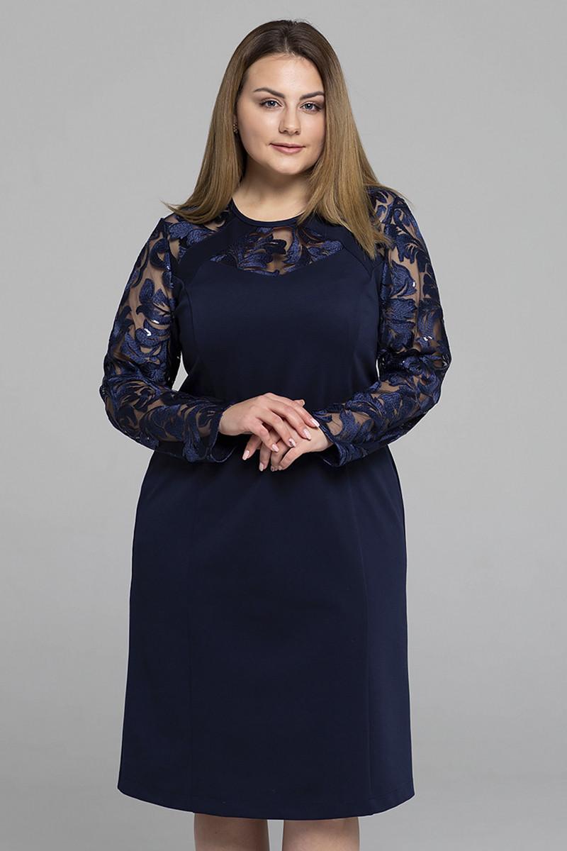 4eeb38c7486 Синее вечернее платье для полных женщин Алиса (54-56) - DS Moda -