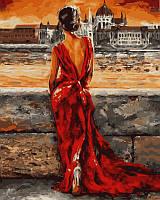 Раскраски по номерам своими руками Итальянка в красном 40х50см, С Коробкой