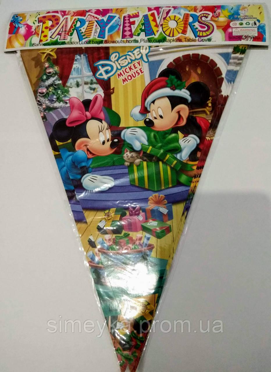 """Гірлянда з трикутних прапорців (двостороння), довжина близько 2,2 м, новорічна """"Міккі Маус"""""""