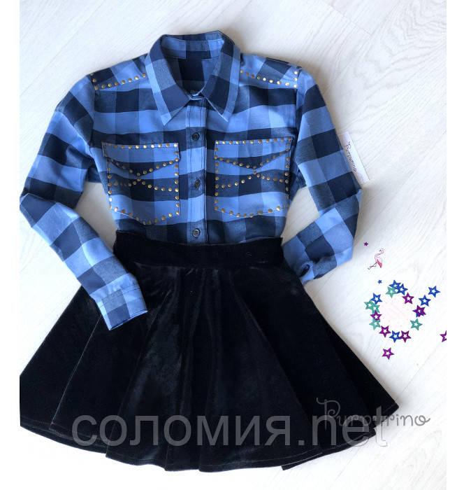 Фланелева Сорочка в в синьо-блакитну клітинку для дівчинки 146-164р