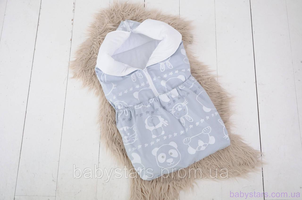 """Демисезонный конверт-трансформер для новорожденного """"Мишка и друзья"""""""