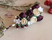 """Подарок девушке на Новый год. Заколка с цветами """"Элегантный бордо"""""""