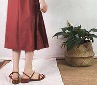Босоножки рыжие на низком квадратном каблуке