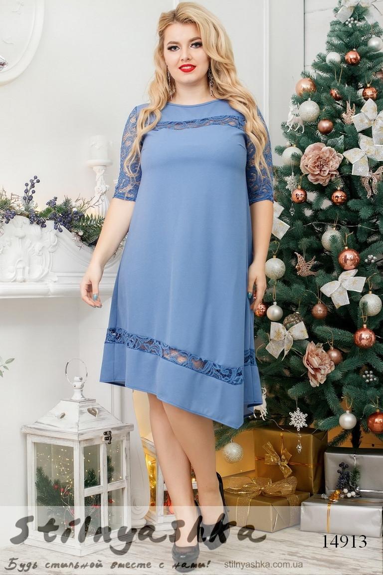 Большое асимметричное платье джинс, фото 1