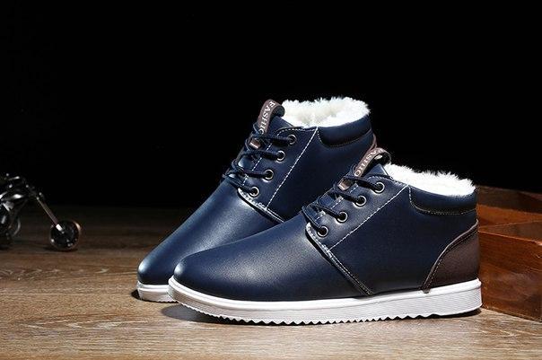 Мужские синие ботинки на меху