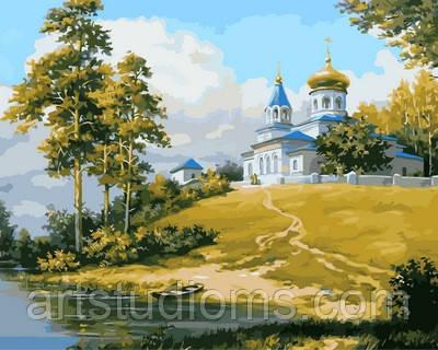 Картины по цифрам своими руками Церковь на холме 40х50см, С Коробкой