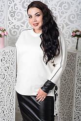 Трикотажный белый джемпер больших размеров Лидия