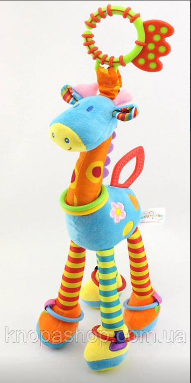 Голубой  Жираф. Развивающая мягкая игрушка для малышей Happy Monkey.