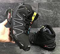 Зимние кроссовки Salomon Speedcross 3 (черные с серым)