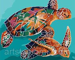 """Картина по номерам """"Радужные черепахи"""" 40х50см, С Коробкой"""
