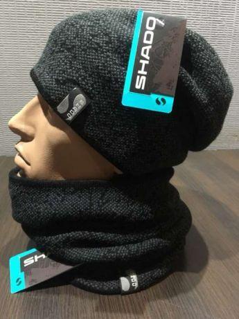 Комплект шапка +шарф труба-бафф цвет синий