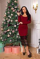 Женское приталенное стильное платье с кружевом (5 цветов), фото 1
