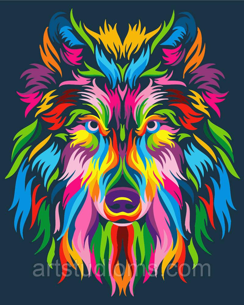 DIY Набор для творчества Радужный волк картина по номерам, 40х50см, Без Коробки