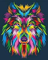 DIY Набор для творчества Радужный волк картина по номерам, 40х50см, Без Коробки, фото 1