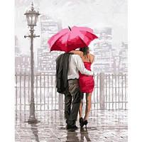 Картина по номерам для взрослых Влюбленные под красным зонтом 40х50см, С Коробкой