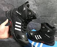 Зимние кроссовки Adidas Climaproof (высокие, черные с белым)