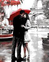 Картины по номерам для взрослых Поцелуй в Париже 40х50см, С Коробкой