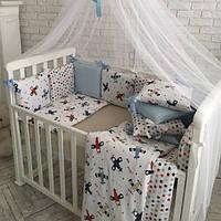 Комплект детского постельного белья Baby Design Аэроплан (7 эл)