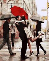 Картины по номерам для взрослых Поцелуй при встрече 40х50см, С Коробкой