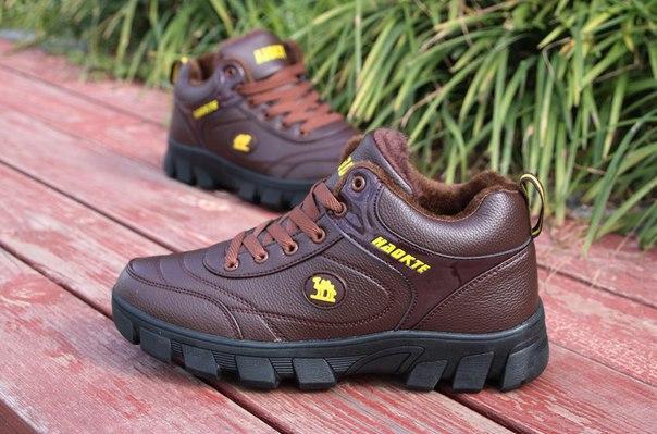 Мужские коричневые зимние кроссовки