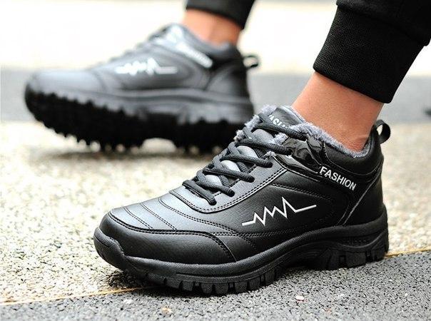 Меховые мужские кроссовки черные+белый