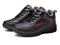 Меховые мужские черные кроссовки, фото 1