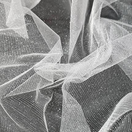 Тканина фатин з напиленням білий, фото 2