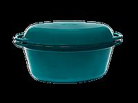 Гусятница 32х20х13см/5л с крышкой-сковородой с глянцевым эмалированным покрытием зеленая чугунная Ситон