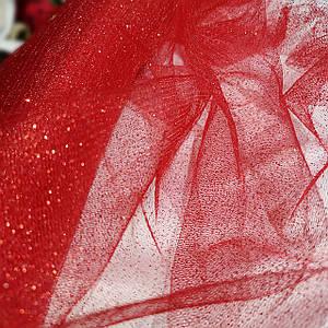 Ткань фатин с напылением красный